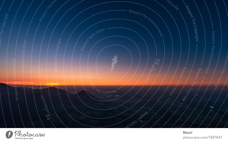 Night sky at the edge of the Alps (Großer Riesenberg) Environment Nature Landscape Sky Cloudless sky Horizon Sun Sunrise Sunset Summer Beautiful weather