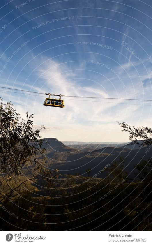Ascension Vacation & Travel Far-off places Freedom Summer Mountain Landscape Sky Clouds Forest Hill Blue Australia Gondola Blue mountains Yellow Cable Air