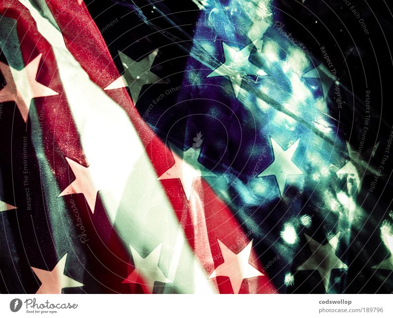 Blue White Red Star (Symbol) Sign Flag Americas Double exposure Oil American Flag Astronautics
