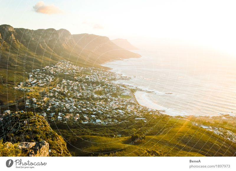 Sundown over Camps Bay Beach Exotic Vacation & Travel Cape South Africa Sunset Atlantic Ocean Cape Town Neighborhood Idyll Vantage point Overview