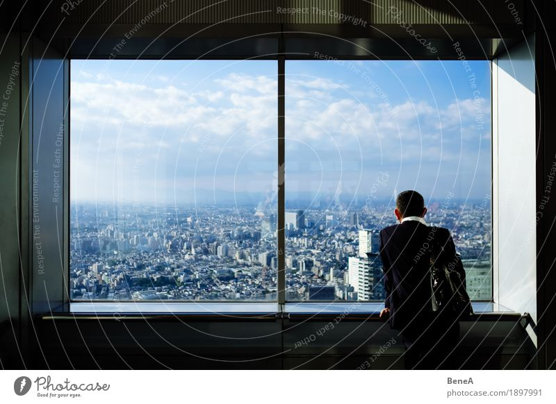 Man Town Loneliness Clouds Window Architecture Business Horizon Vantage point Stand Large Individual Money Infinity Asia Suit