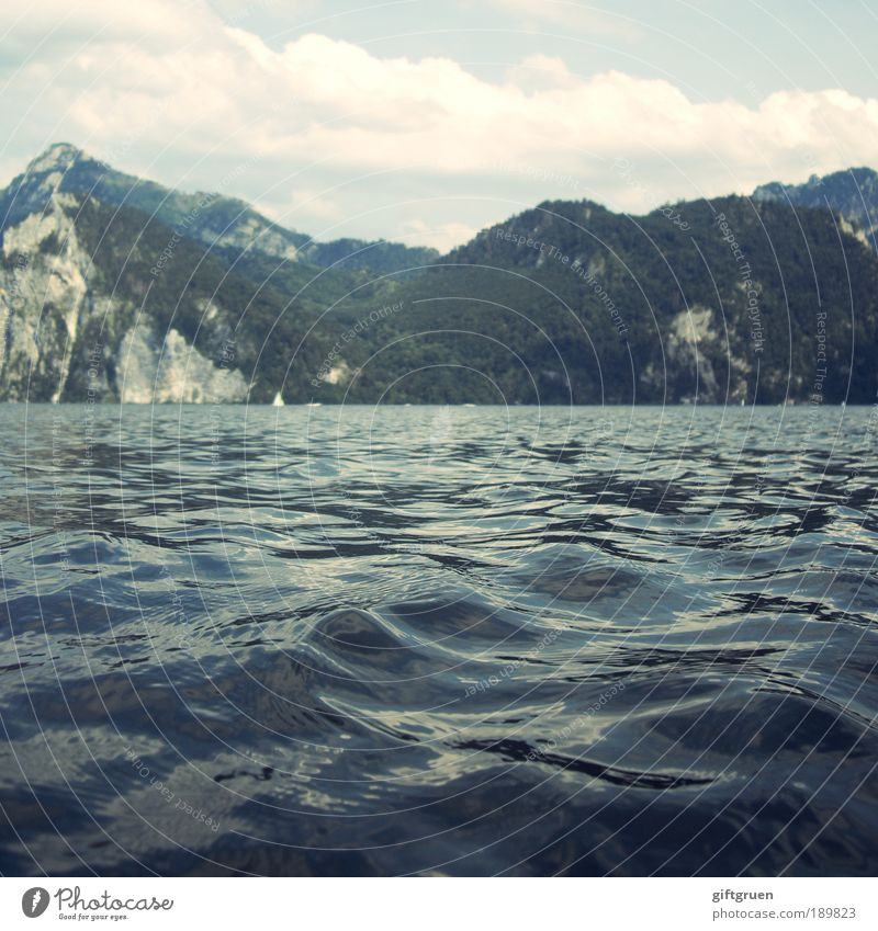 Nature Water Sky Sun Summer Vacation & Travel Clouds Forest Mountain Lake Landscape Contentment Waves Environment Rock