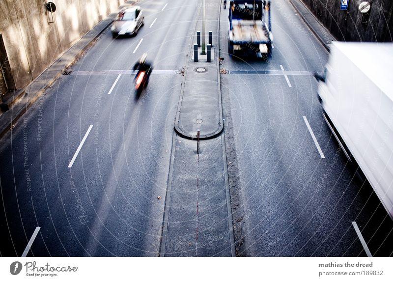 City Vacation & Travel Street Movement Lanes & trails Car Road traffic Transport Speed Gloomy Driving Logistics Asphalt Truck Highway Motion blur