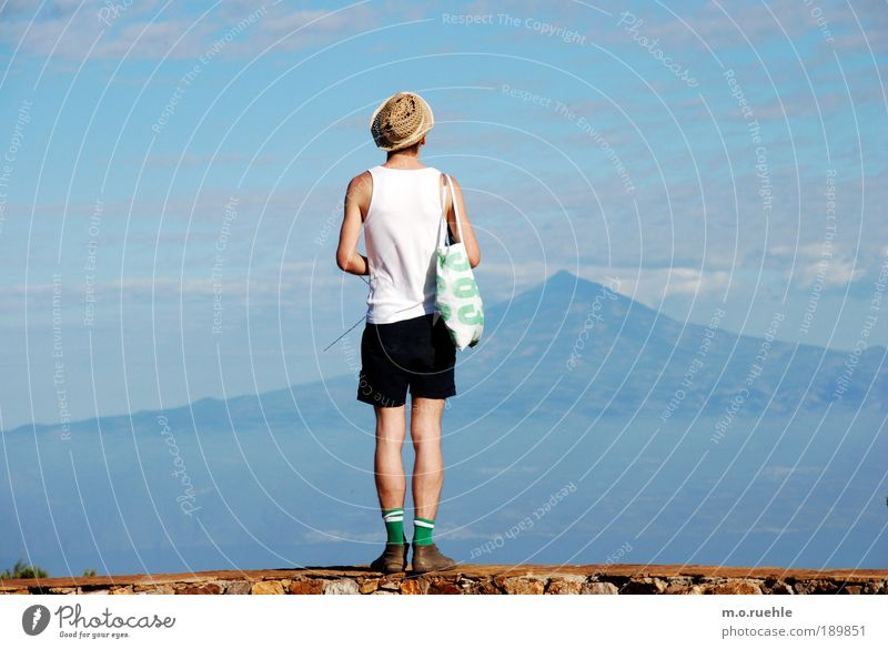 Sky Nature Youth (Young adults) Ocean Summer Adults Loneliness Man Far-off places Environment Landscape Earth Legs Skin Hiking Masculine