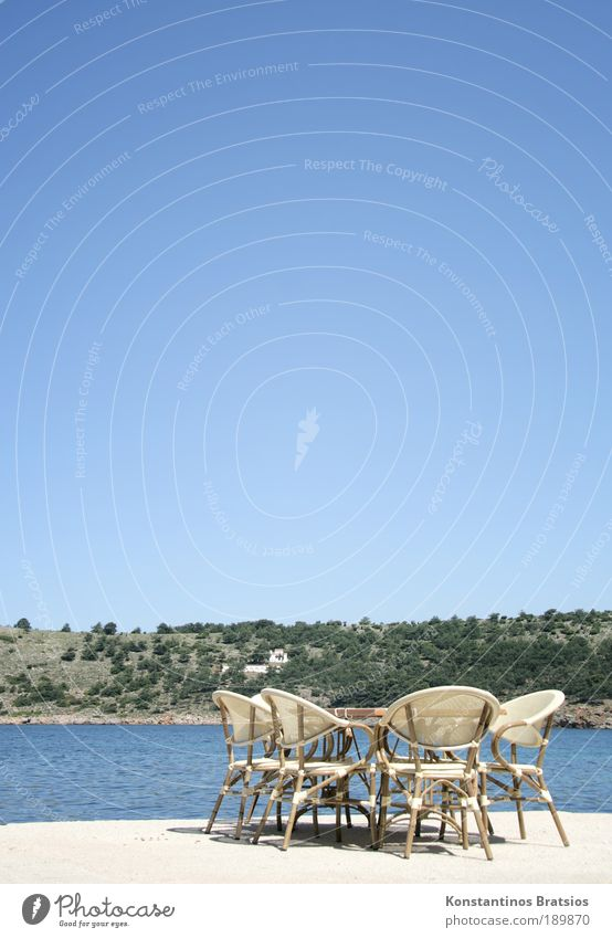 ~~~Please take a seat* Gastronomy Cloudless sky Summer Beautiful weather Hill Mediterranean sea Bright Relaxation Break Services Tourism Restaurant Chair Table