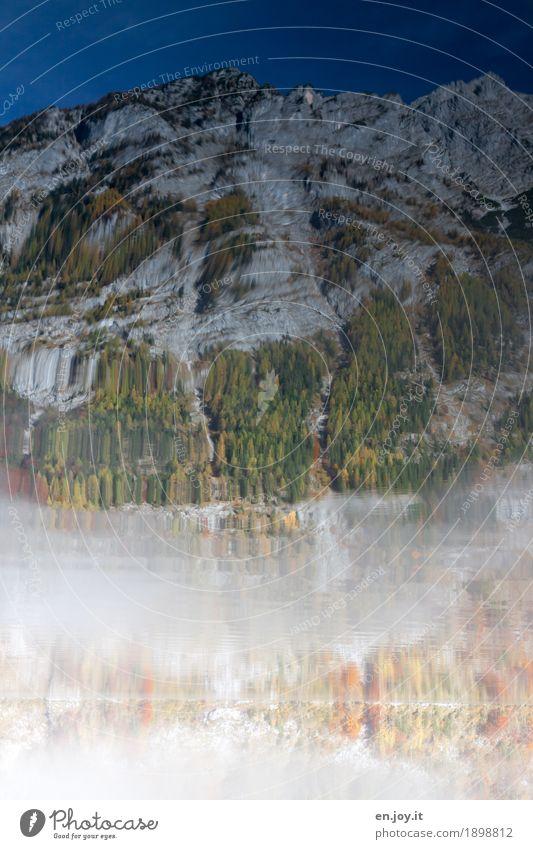 Orientation | slos Nature Landscape Elements Water Cloudless sky Autumn Fog Forest Rock Alps Mountain Berchtesgaden Alpes Lakeside Lake Königssee Bavaria