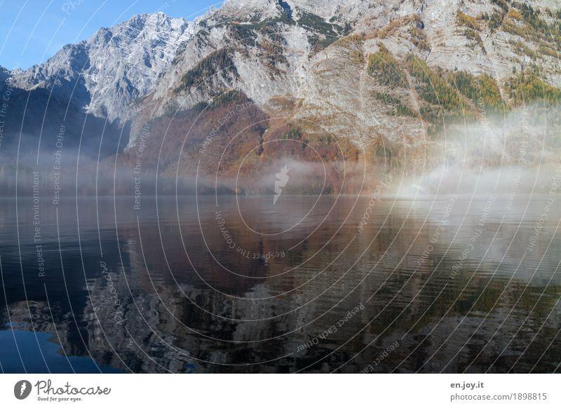Nature Vacation & Travel Landscape Mountain Sadness Autumn Lake Rock Dream Contentment Fog Idyll Climate Lakeside Alps Irritation