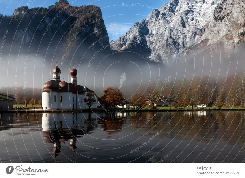 Nature Vacation & Travel Landscape Mountain Religion and faith Autumn Germany Lake Tourism Park Fog Trip Church Europe Lakeside Alps