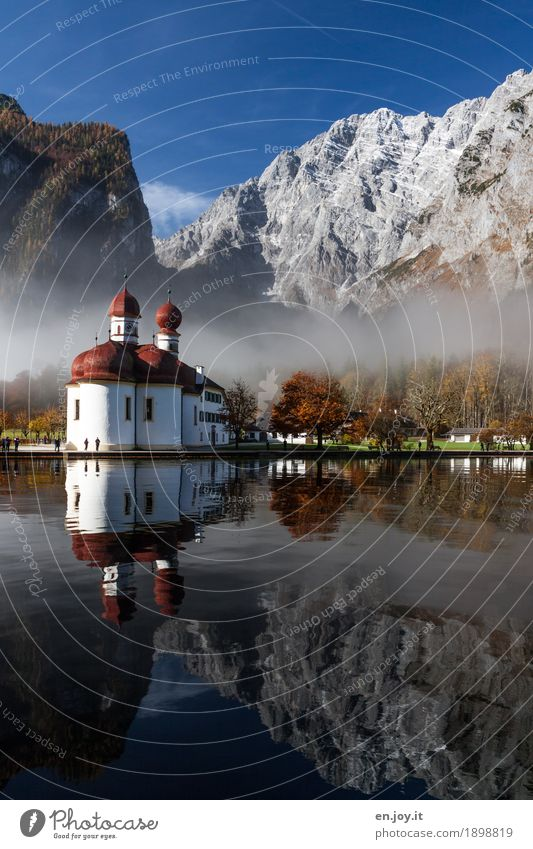 in the morning half past nine in Germany Vacation & Travel Tourism Trip Sightseeing Mountain Nature Landscape Sky Autumn Fog Park Alps Watzmann
