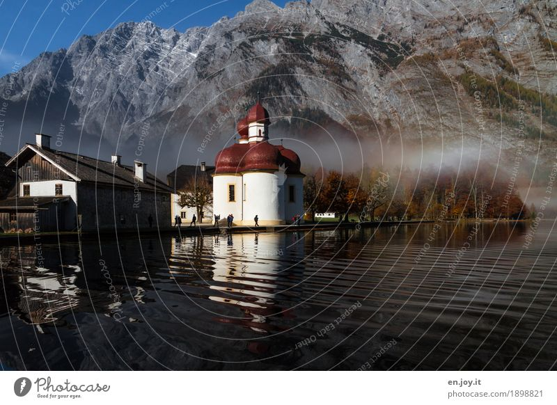 Vacation & Travel House (Residential Structure) Mountain Autumn Germany Lake Tourism Rock Park Fog Trip Waves Idyll Church Lakeside Alps