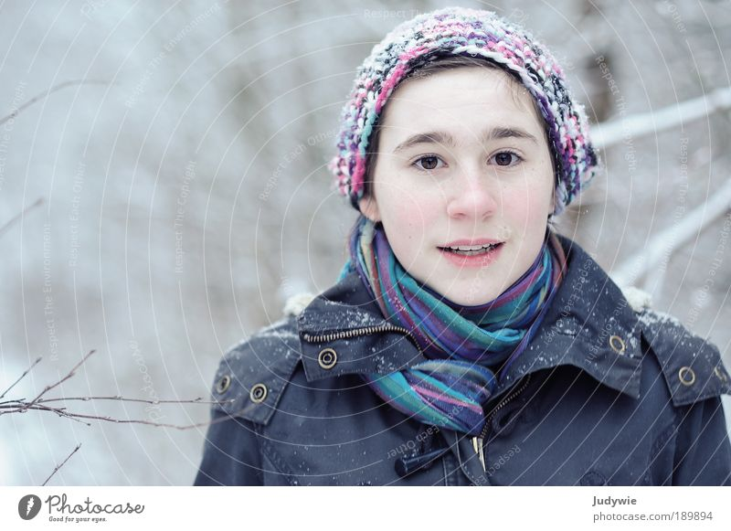 Child Nature Youth (Young adults) Girl Beautiful Tree Joy Winter Face Forest Snow Feminine Happy Ice Environment