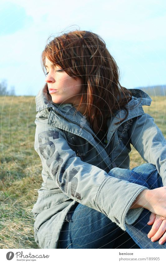 winter sun Woman Sun Sunbathing Winter Jacket Sit Relaxation Contentment Long-haired Coat eyes Closed Sleep Meadow Field Nature Natural Youth (Young adults)