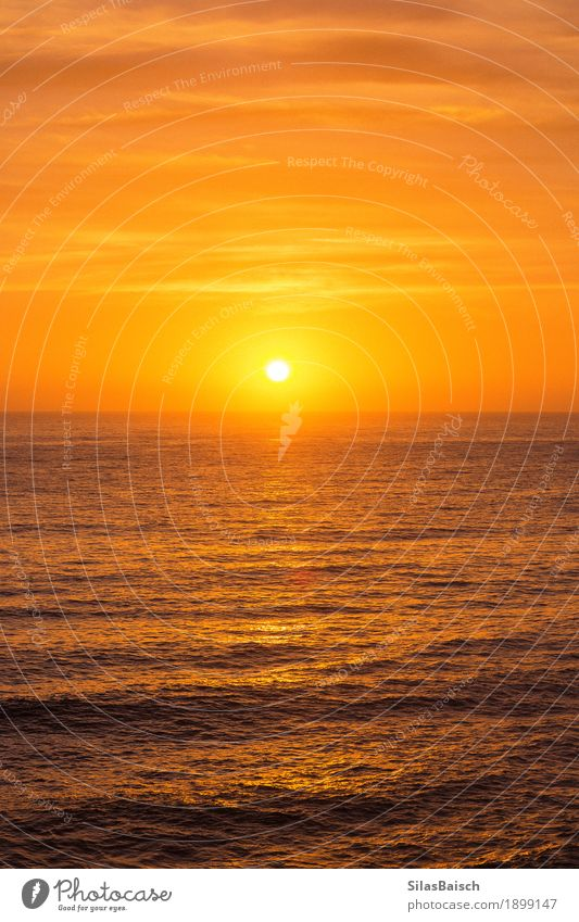 BEAUTIFUL SUNRISE OVER THE OCEAN Nature Vacation & Travel Colour Sun Landscape Ocean Relaxation Far-off places Environment Lifestyle Healthy Coast Freedom Rock Waves Esthetic