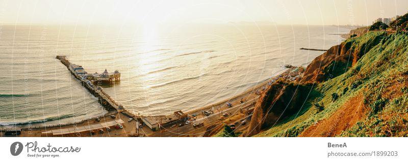 Vacation & Travel Ocean Beach Coast Earth Waves Idyll Vantage point Exotic Dusk Cliff Port City South America Pacific Ocean Peru City