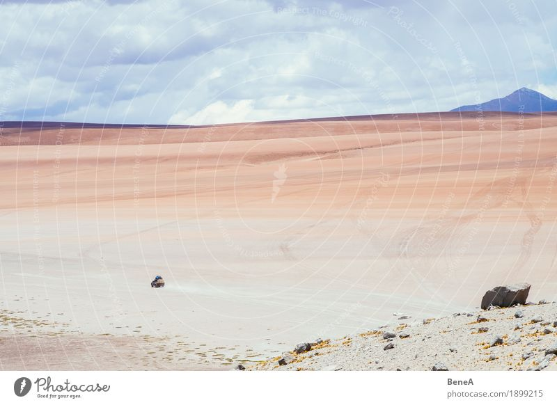 Jeep drives through the Atacama and Uyuni desert in Bolivia Vacation & Travel Nature Sand Adventure Movement Discover Experience Exotic Environment