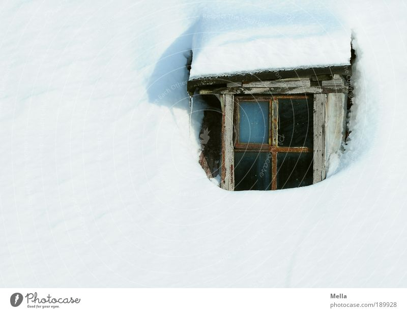 The window to the snow Vacation & Travel Tourism Winter Snow Winter vacation House (Residential Structure) Climate Climate change Weather Window Roof Wood Old