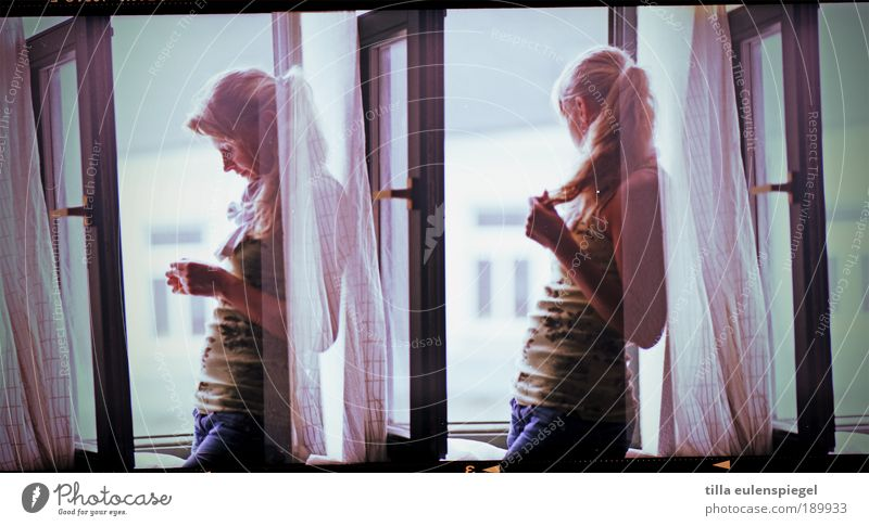 Human being Youth (Young adults) Beautiful Loneliness Feminine Woman Window Think Wait Blonde Adults Jeans Authentic Observe