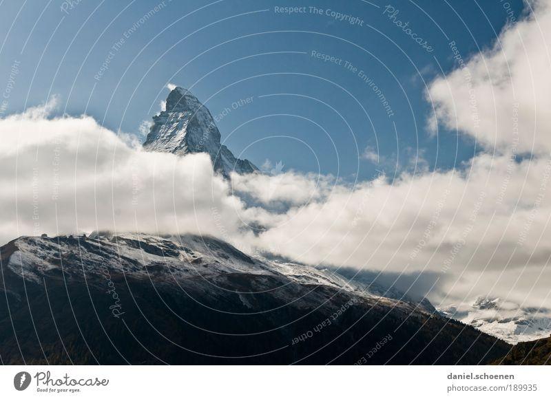 Vacation & Travel Mountain Trip Tourism Climate Alps Switzerland Peak Beautiful weather Snowcapped peak Matterhorn