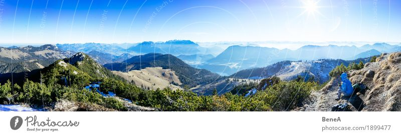 Woman sitting at the summit in front of alpine panorama at Trainsjoch Relaxation Vacation & Travel Sports Adults Nature Fitness Loneliness Leisure and hobbies