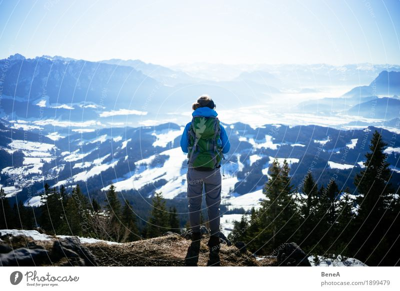 Hiker with rucksack looking into the winter Inntal valley with snow Relaxation Vacation & Travel Sports Woman Adults Nature Fitness Looking Discover Experience