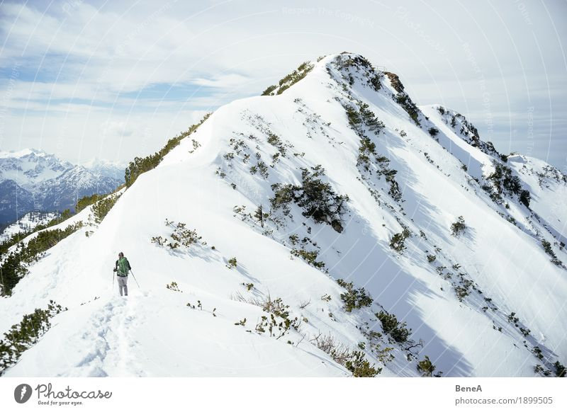 Woman hiking to the winter summit of Herzogstand in the snow Relaxation Vacation & Travel Winter Sports Adults Nature Fitness Adventure Experience