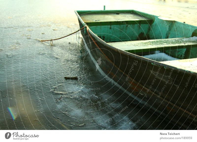 Nature Water Old Plant Winter Calm Watercraft Dream Landscape Ice Moody Wait Weather Environment Time Rope