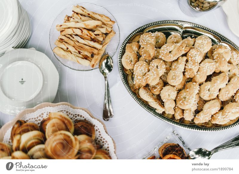 coffee table Dough Baked goods Bread Roll Croissant Cake Dessert Candy Jam Cookie Nutrition To have a coffee Buffet Brunch Crockery Plate Bowl Cutlery Lifestyle