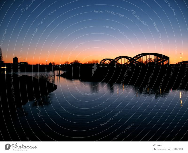 The bridges on the river Landscape Water Sky Cloudless sky Night sky Autumn Beautiful weather River bank North Sea Baltic Sea Hamburg Port City Outskirts