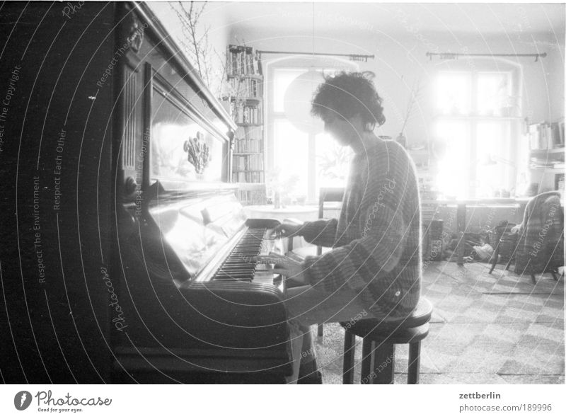 My little brother without guitar at the piano Sun Room Music Human being Man Adults 1 Art Artist Listen to music Musician Guitar Piano Window Sit House mouse