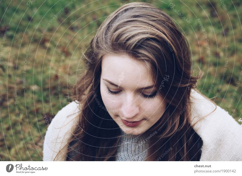 beautiful look down Young woman Youth (Young adults) Sister Head Face 1 Human being 18 - 30 years Adults Winter Scarf Brunette Blonde Long-haired Relaxation