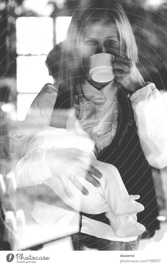 next morning To have a coffee Parenting Feminine Baby Woman Adults 2 Human being Drinking Gray Black White Relationship Elegant Relaxation Peace Serene