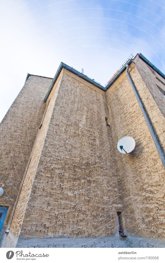bowl Satellite Satellite dish Welcome Receive Reception Television TV reception House (Residential Structure) Corner Niche Plaster roughcast Rain gutter