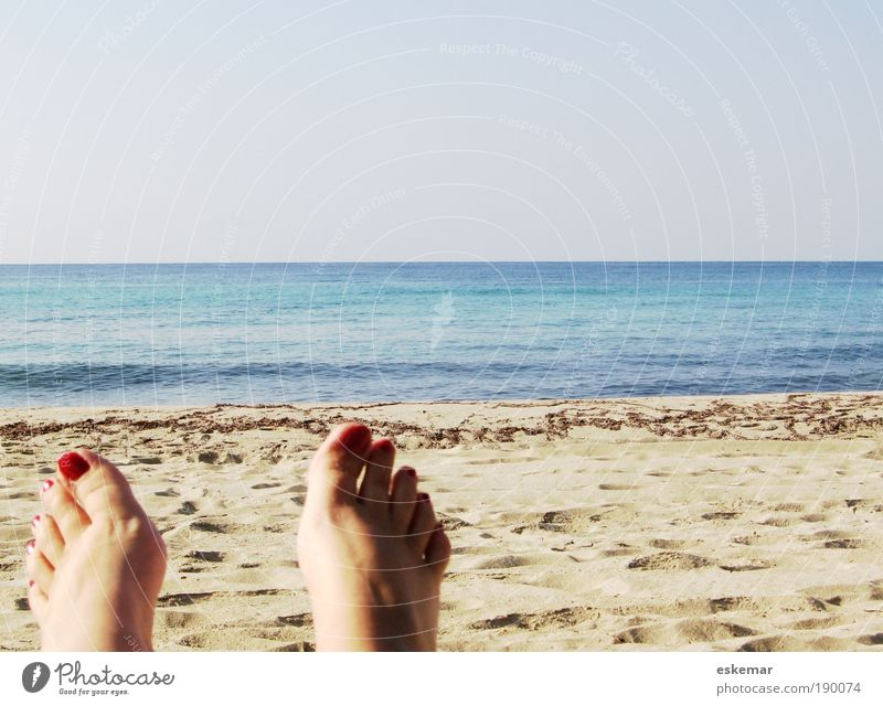Human being Woman Blue Vacation & Travel Summer Ocean Joy Beach Calm Adults Relaxation Feminine Happy Feet Bright Horizon