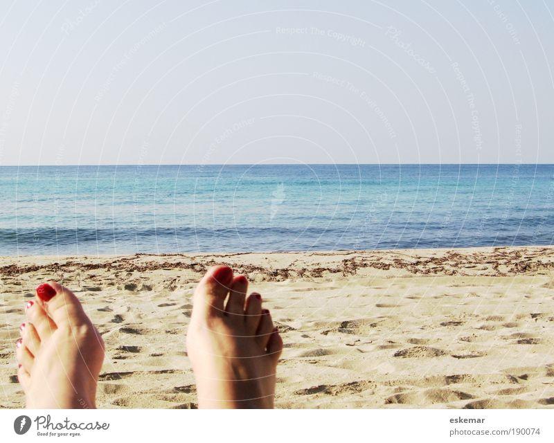 Human being Woman Blue Vacation & Travel Summer Ocean Joy Beach Calm Adults Relaxation Feminine Happy Feet Bright Horizon
