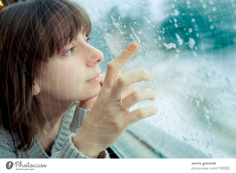 Woman Human being Youth (Young adults) Hand Vacation & Travel Ocean Winter Adults Face Eyes Feminine Life Snow Mountain Portrait photograph Rain