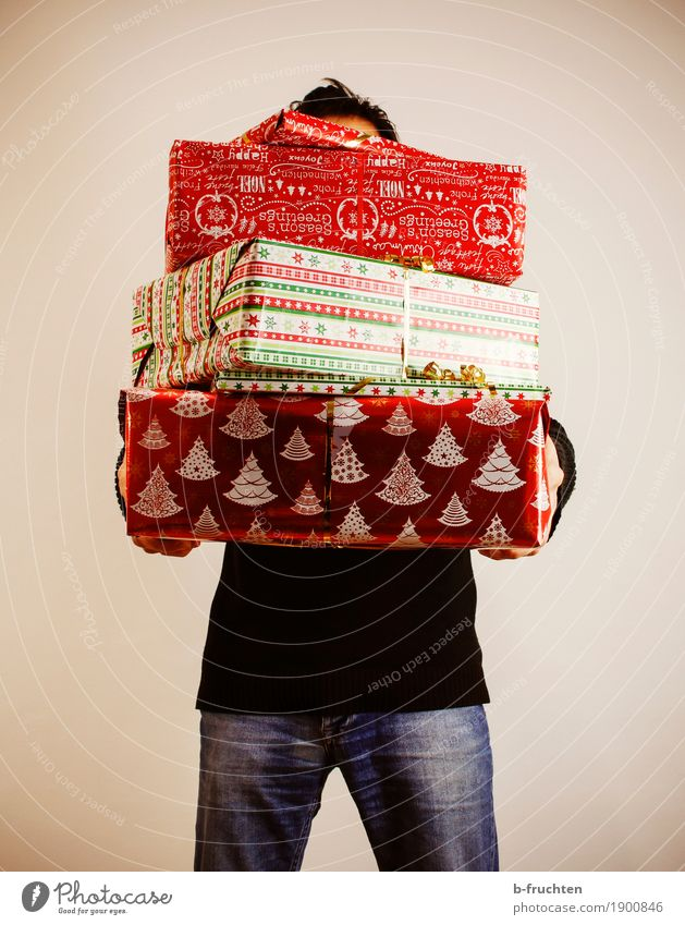 EVERY YEAR AGAIN... Masculine Man Adults 30 - 45 years Jeans Sweater Black-haired Paper Packaging Package Decoration To hold on Stand Funny Positive Red Joy