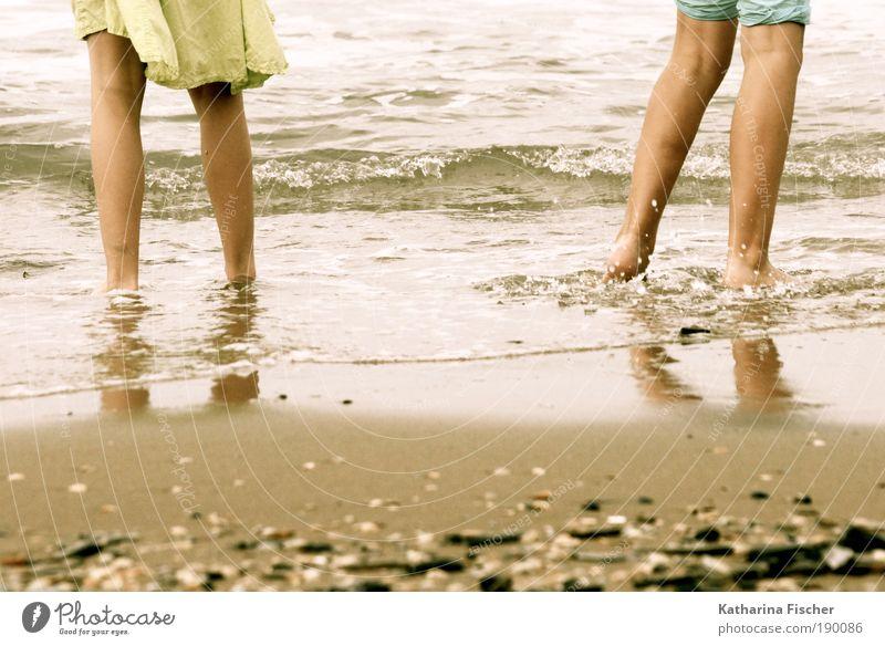 beach history Vacation & Travel Beach Ocean Waves Masculine Legs 2 Human being Sand Water Brown Yellow Green Mussel Skirt Pants Summer Weather summer love