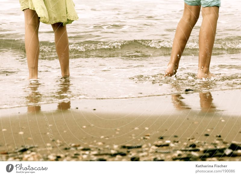 Human being Vacation & Travel Green Water Summer Ocean Beach Yellow Sand Legs Brown Masculine Weather Waves Pants Skirt