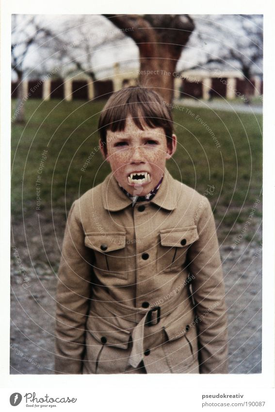 Human being Child Joy Polaroid Face Feasts & Celebrations Black Dark Style Gray Brown Culture Masculine Teeth Threat