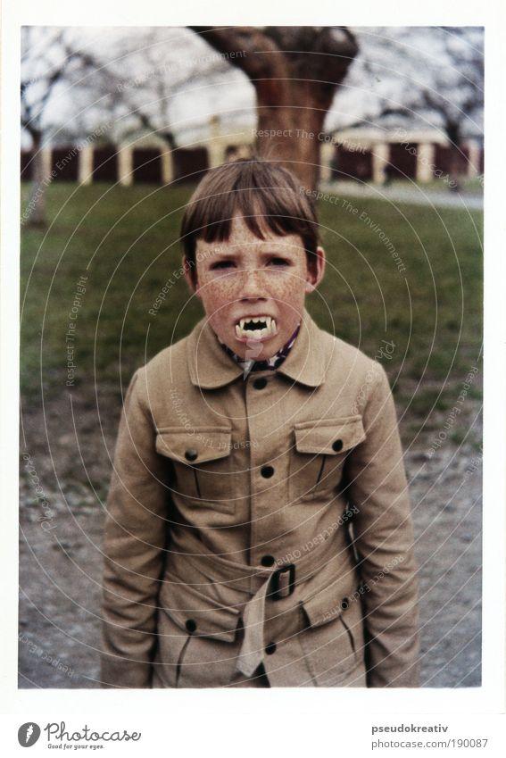 Human being Child Joy Polaroid Face Feasts & Celebrations Black Dark Style Gray Brown Culture Masculine Teeth Threat