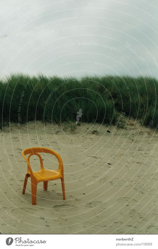 Garden chair in the sand Beach Calm Loneliness Relaxation Sand Chair