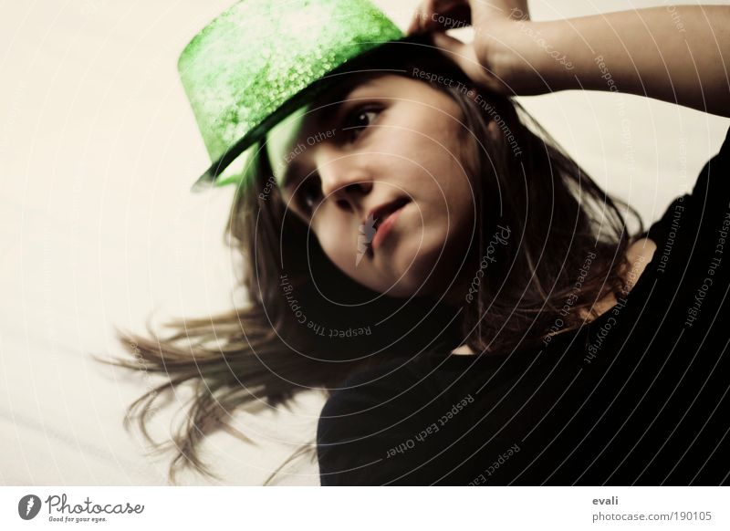 Woman Human being Youth (Young adults) Green Joy Face Feminine Hair and hairstyles Head Wait Skin Glittering Adults Carnival Illuminate Hat