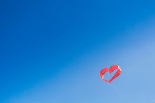 Red heart in the sky. Valentine's Day, Wedding, Love, Engagement Heart Together Relationship Happy Happiness Contentment Sky Heaven Horizon Dragon Kite