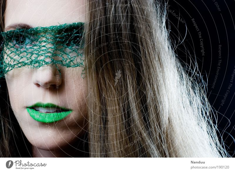 Human being Youth (Young adults) Beautiful Green Loneliness Feminine Style Fashion Adults Elegant Woman Multicoloured Portrait photograph Vail Lipstick Extraterrestrial