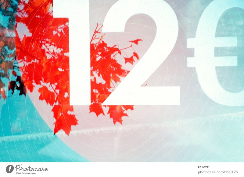 Environment: 12 Euro Nature Tree Window Digits and numbers Euro symbol Blue Red Colour Trade Surrealism Environmental protection Double exposure Costs Price tag