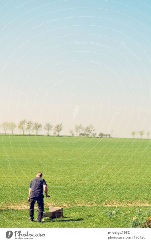spring cleaning Living or residing Garden Masculine Man Adults Landscape Cloudless sky Horizon Spring Beautiful weather Meadow Field Barbecue (apparatus)