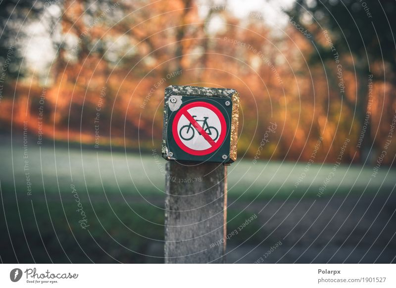 Bike restriction sign in a park in autumn Trip Summer Cycling Environment Park Forest Transport Street Highway Metal Red White Safety Caution prohibition