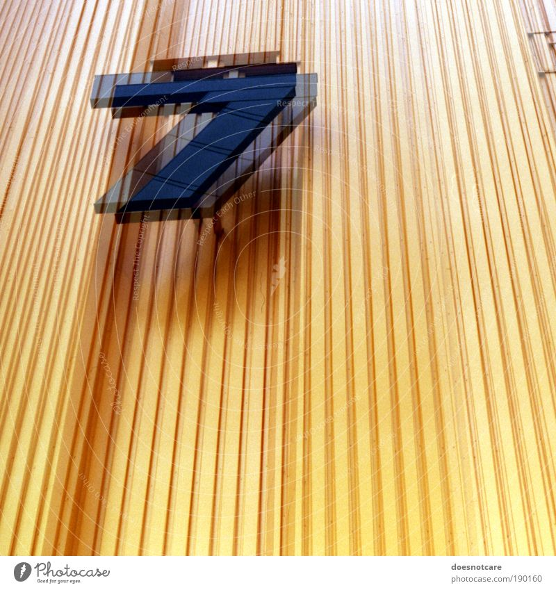 14 Factory Yellow 7 Digits and numbers Architecture Building Facade Stripe Trade fair Old fair Leipzig Double exposure Analog Mythology In pairs Blur