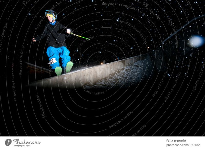 Skiing in a different way V Lifestyle Leisure and hobbies Playing Snow Sports Fitness Sports Training Track and Field Sportsperson Success Halfpipe Masculine