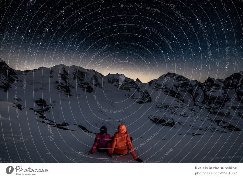 Looking at stars with you... Happy Life Vacation & Travel Winter Snow Winter vacation Mountain Hiking Sportsperson Skis Human being Masculine Feminine